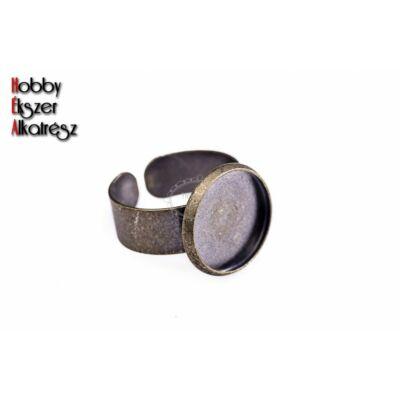 Antikolt bronz gyűrűalap (14mm)