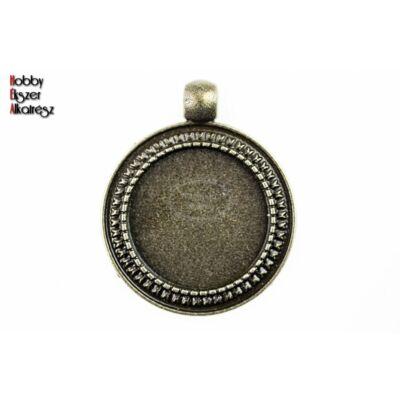 Antikolt bronz színű pöttyös szélű medálalap (20mm)