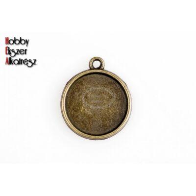 Antikolt bronz sima medálalap (16mm)