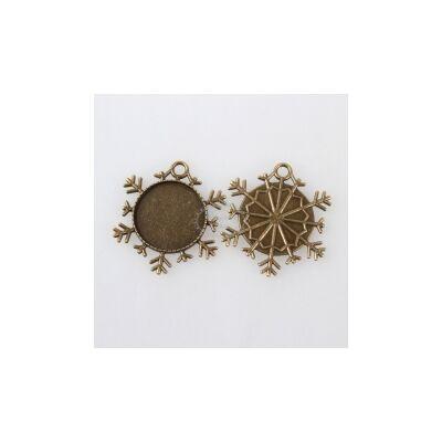Antikolt bronz színű hópihe alakú medál (25mm)