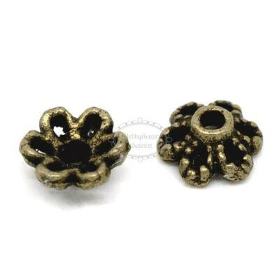 10db Antikolt bronz virágos gyöngykupak
