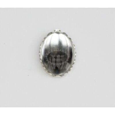 Ezüst színű csipkés medálalap (13x18mm) hozzátartozó üveglencse