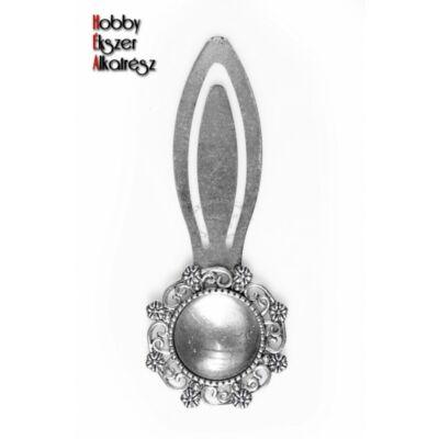 Antikolt ezüst színű díszes könyvjelző (18mm) hozzátartozó üveglencsével