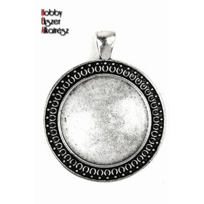 Antikolt ezüst díszes medálalap (25mm) hozzátartozó üveglencse