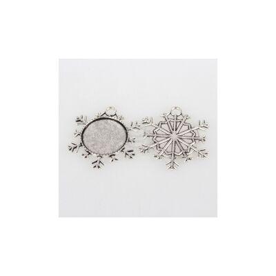 Antikolt ezüst színű hópihe alakú medál (25mm)