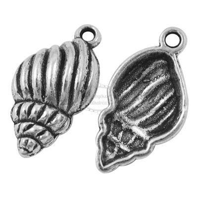 Antikolt ezüst színű kagyló fityegő