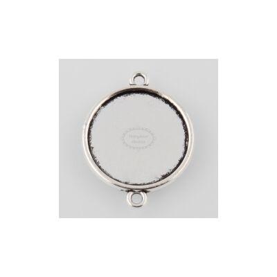 Antikolt ezüst színű sima szélű kapcsolóelem (20 mm)