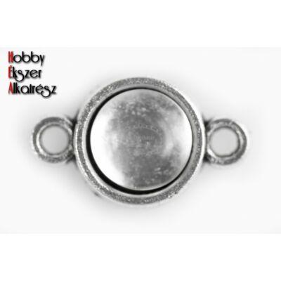 Antikolt ezüst színű kapcsolóelem (8mm) hozzátartozó üveglencsével