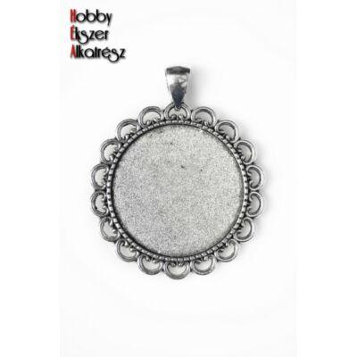 Antikolt ezüst díszített hátú medálalap (30mm)