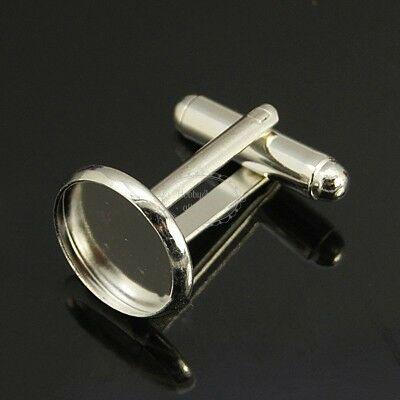 1 pár ezüst színű mandzsettagomb alap (12mm)