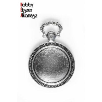 Antikolt ezüst színű óra alakú medál (20mm)