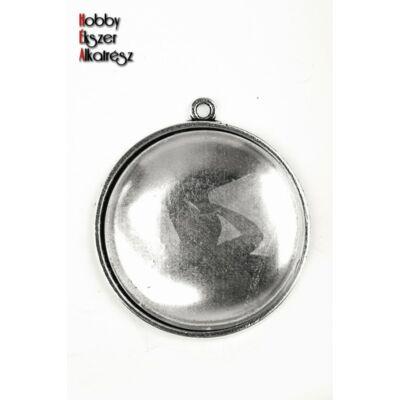 Antikolt ezüst színű sima medálalap (30mm) hozzátartozó üveglencsével