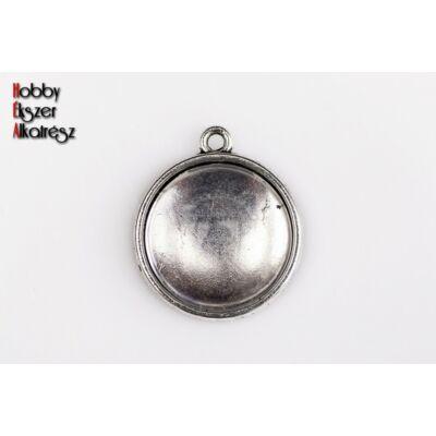 Antikolt ezüst színű dupla oldalú medálalap (16mm) hozzátartozó üveglencsével