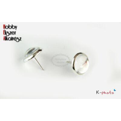 Ezüst színű bedugós fülbevalóalap (12mm) hozzátartozó üveglencsével