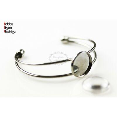 Ezüst színű karperecalap (18mm) hozzátartozó üveglencsével