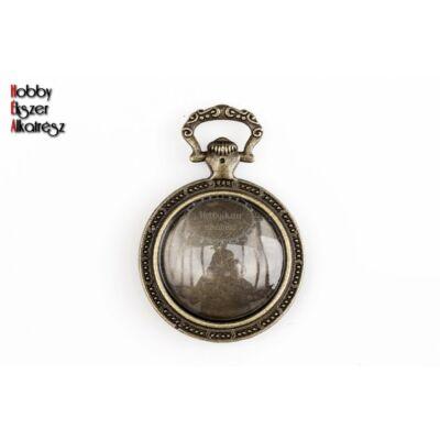 Antikolt bronz óra alakú medálalap (20mm) hozzátartozó üveglencsével