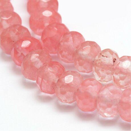Csiszolt cseresznye kvarc ásványgyöngy (8x5mm)/10db
