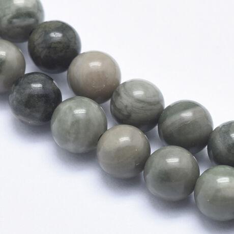 Zöld csíkos jáspis ásványgyöngy (6mm)/10db