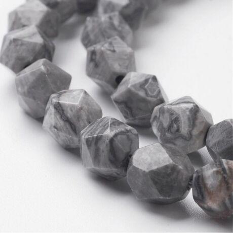 Silk stone/ Netstone csiszolt ásványgyöngy/5db