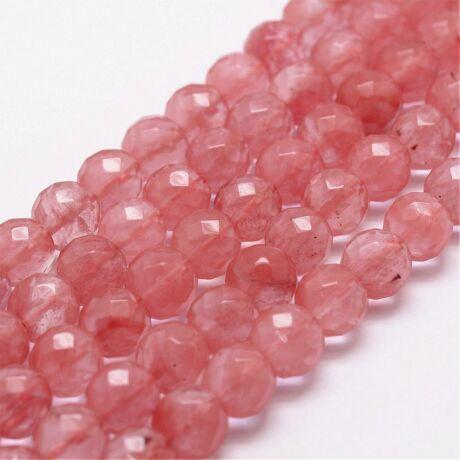 Cseresznye kvarc ásványgyöngy (8mm)/10db