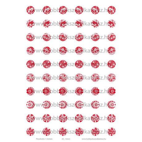 Pirosfestős-1 Üveglencsés ékszerpapír 12mm 10 féle minta A5
