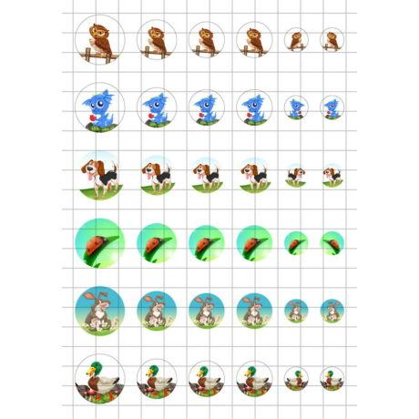 Állatok-8 Üveglencsés ékszerpapír több méret A5