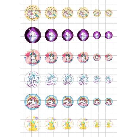 Unikornis-3 Üveglencsés ékszerpapír több méret A5