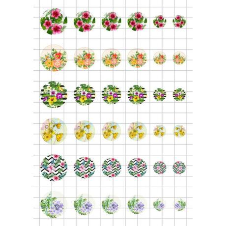 Virág-7 Üveglencsés ékszerpapír több méret A5