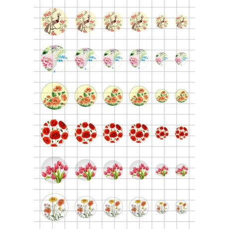 Virág-9 Üveglencsés ékszerpapír több méret A5