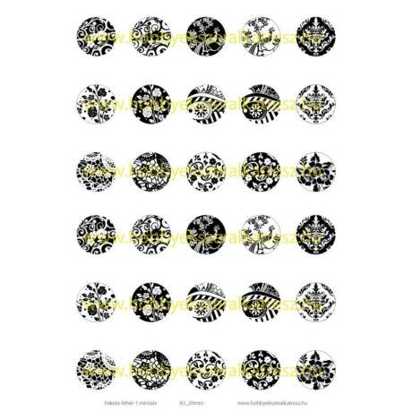 Fekete-fehér-1 Üveglencsés ékszerpapír 20mm 15 féle minta A5
