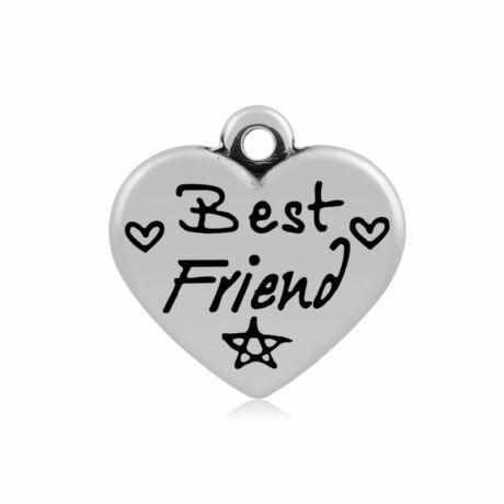 316-os Nemesacél Best friend szív fityegő