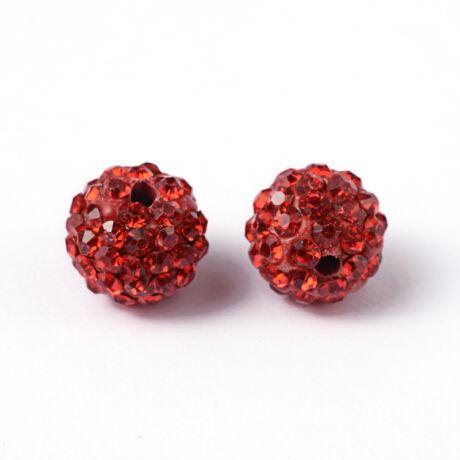 Strasszal díszített piros gyöngy (10mm)