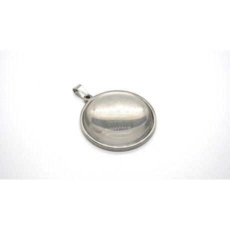 Nemesacél medálalap medáltartóval (35mm) hozzá tartozó üveglencsével
