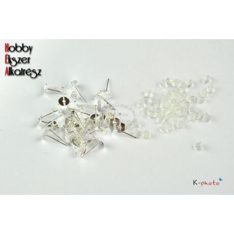 10 pár antikolt ezüst színű bedugós fülbevalóalap