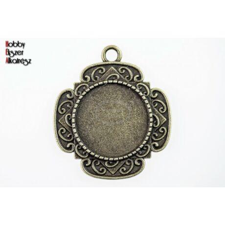 Antikolt bronz színű díszített medálalap (20mm)