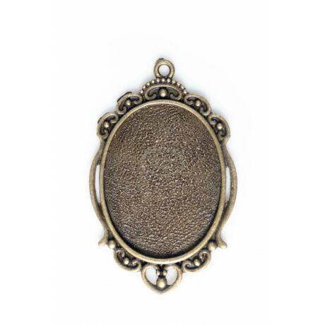 Antikolt bronz színű reneszánsz medálalap (30x40mm)
