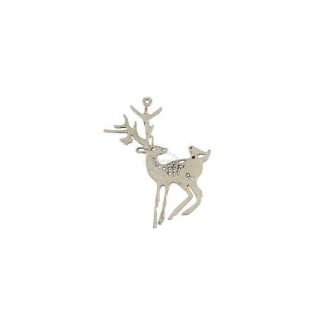 Antikolt ezüst színű szarvas medál