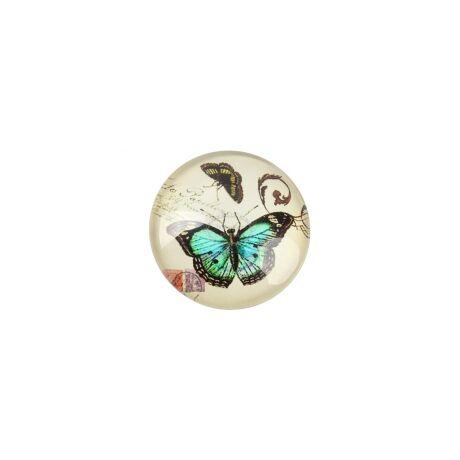 Zöld pillangós mintás üveglencse (20mm)