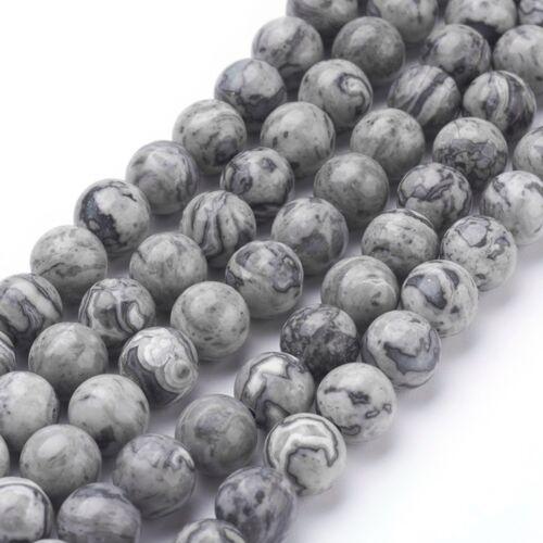 Térkép jáspis ásványgyöngy (8mm)/10db