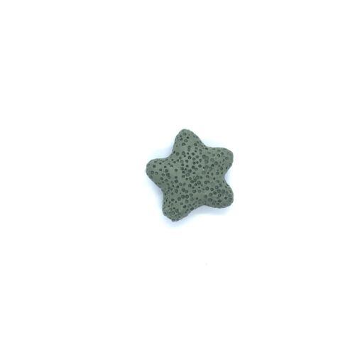 Sötét zöld lávakő csillag alakú átfúrt medál (25mm)