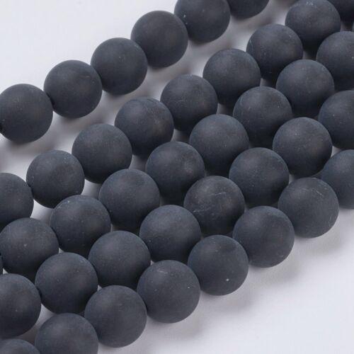 Matt fekete achát ásványgyöngy (8mm)/10db