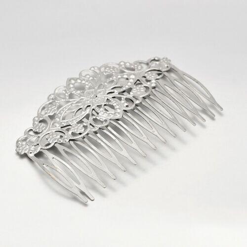 Antikolt ezüst színű filigrán hajfésű (81x55mm)