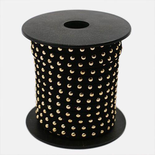 Fekete színű arany szegecses hasított bőrszál (5mm)