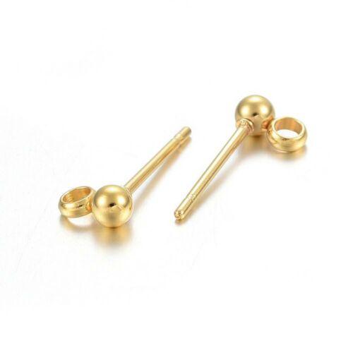 1pár arany színű nemesacél golyós, bedugós tovább építhető fülbevalóalap