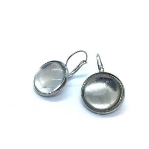 Nemesacél franciakapcsos fülbevaló alap (18mm) hozzá tartozó üveglencsével