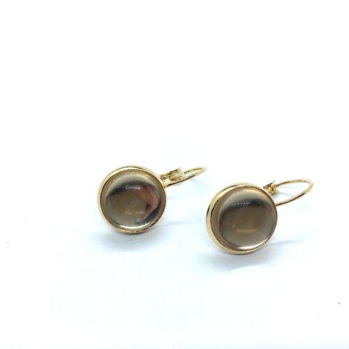 Arany színű nemesacél kapcsos fülbevalóalap (12mm) hozzá tartozó üveglencsével