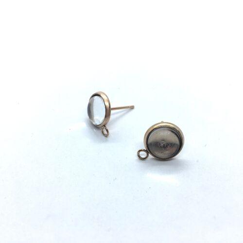 Rozé arany színű nemesacél bedugós tovább építhető fülbevalóalap (8mm) hozzá tartozó üveglencsével