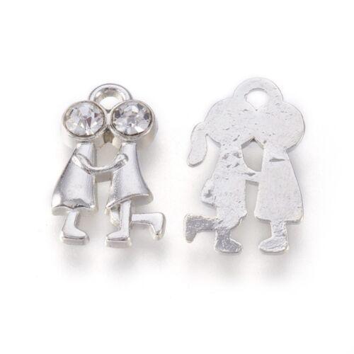 Antikolt ezüst színű strasszos szerelmespár fityegő