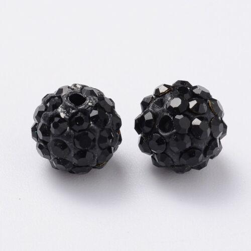 Strasszal díszített fekete gyöngy (8mm)
