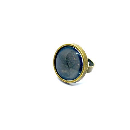 Antikolt bronz színű gyűrűalap (20mm) hozzátartozó üveglencsével